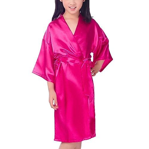 e8c385cf6c Admireme Kids  Satin Kimono Robe Bathrobe Silk Nightgown for Spa Party  Wedding Birthday