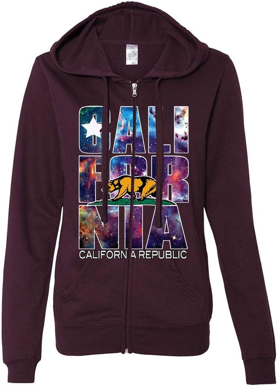 Dolphin Shirt Co California Cosmic Flag Logo in Space Galaxy Ladies ZipUp Hoodie