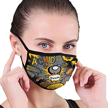 qilifz Dust Face Anti Pollution Shield Comic Book Explosion Pattern Art ACDC Fantasy Outdoor Cover
