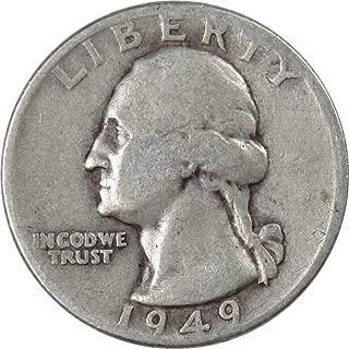 1949 D 25c Washington Silver Quarter US Coin VG Very Good