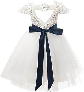 Miama 子供ドレス キッズワンピース フォーマルノースリーブドレス フラワーガールドレス アイボリー