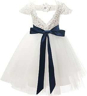 Áo quần dành cho bé gái – Ivory Lace Tulle Cap Sleeves Wedding Flower Girl Dress Junior Bridesmaid Dress