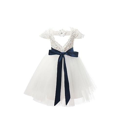 0d87fb88520 Amazon.com  Miama Ivory Lace Tulle Cap Sleeves Wedding Flower Girl Dress  Junior Bridesmaid Dress  Clothing