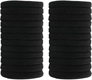 Fani Soft Cotton Stretch Hair Ties Bands 24 Pack Black Elastic Cotton Hair Ties, Seamless Thick Hair No-Damage Band Ponytail Holders Perfectly for Women & Ladies