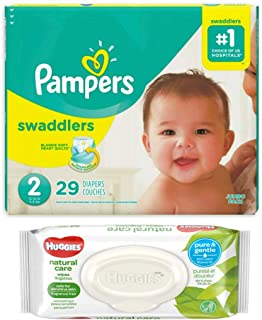 Pampers Swaddlers Disposable Diapers Size 2 (29 ct) Bundle with Huggies Natural Care Flip Top Baby Baby Wipes (32 ct)