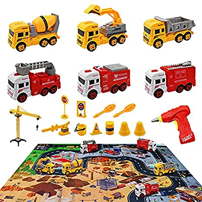 Construction Vehicle Truck Toys Set with Play Mat, Take Apart Toys with Electric Drill, Construction Car Sets and Crane Tower Road Signs, Best Engineering Toys Gift for Kids Boys 3 Years Old and Up by Peclek