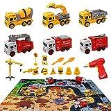 Montaje de vehículos de obra y coche de bomberos, juego de juguetes con taladro eléctrico y mapa de la ciudad, 3 vehículos de construcción, 3 vehículos de bomberos, juguetes a partir de 3 años.…