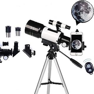 Prakal Adult Telescope, 70mm Aperture 400mm AZ Mount, Portable Travel Telescope with Phone Adapter/Tripod, Astronomical Re...