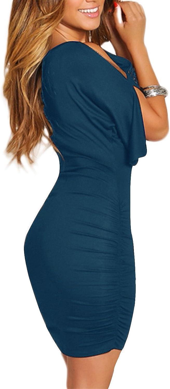 BIUBIU Women's Cold Shoulder Bodycon Bandage Party Midi Dress with Sleeve M-3XL