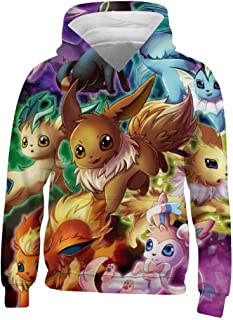 Kids/Youth E-Evee Evolution Hoodie - Casual Hooded Sweatshirt Tops, Pullover Hoodies with Pocket for Boys Girls