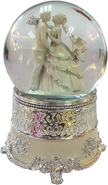 NON ROCK Newly Married Couple Water Globe Crystal Ball Musical Box Luxury Color Change Luminous Rotating