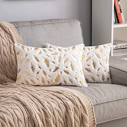 MIULEE - Juego de 2 fundas de almohada decorativas de piel sintética de felpa con plumas doradas, hojas doradas, fundas de cojín suaves, suaves y lindas fundas de almohada para...