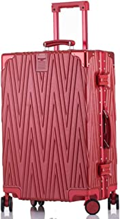 SMLCTY Scratch-resistant Aluminum Frame Trolley Case,Lightweight ABS Hard Shell Hold Check In Luggage Suitcase with 4 Wheels (Color : Red, Size : 24 inch)