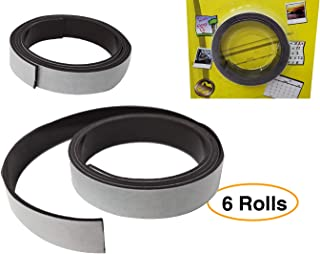 "Adhesive Magnet Strips Flexible Crafts Tape with Strong Self Adhesive | Roll 6 Rolls of 30"" X 0.5"" Total 15 feet"