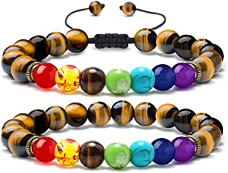 Bead Chakra Bracelet - 7 Chakras 8mm Lava Rock Stone Anxiety Bracelet Essential Oil Diffuser Stone Yoga Beads Bracelets Meditation Relax Healing Aromatherapy Bangle for Men Wonmen Kids