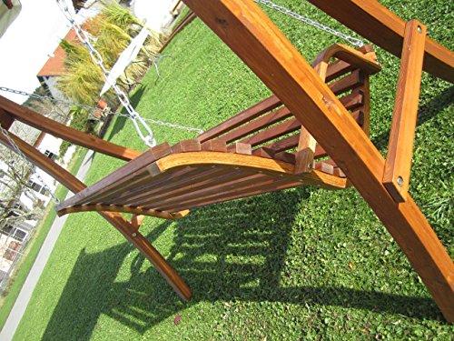 ASS Design Hollywoodschaukel Gartenschaukel Schaukelbank KUREDO mit Dach aus Holz Lärche - 9