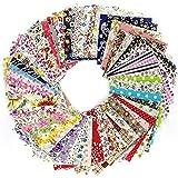 NYKKOLA - Set di 50 pezzi di tessuto per lavori di artigianato assortiti, per lavori di cucito fai da te, scrapbooking, quilting, 20 x 20 cm