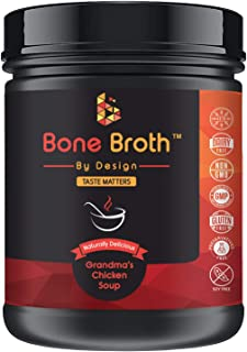 Bone Broth Grass FED Pasture Raised Non GMO • Grandma Chicken Soup Natural Flavor • Paleo • Ketogenic with MCT Oil • 21 Portions/400g Jar • Broth by Design