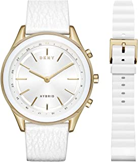 26797eaa2 DKNY Women's 'Woodhaven Hybrid' Quartz Stainless Steel and Leather Smart  Watch, ...