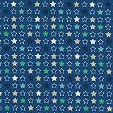 Tela LAS ESTRELLAS MULTICOLORES (azul, verde, beige y blanco sobre un fondo azul) - Colección Fiesta de invierno 100% algodón suave   ancho: 140 cm (por metro lineal)*