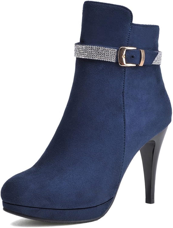 DecoStain Women's Ornamented Solid Zipper & Buckle High Heel Boots