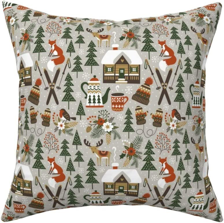 Amazon Com Roostery Throw Pillow Winter Woodland Fox Deer Chalet Ski Christmas Alpine Print Linen Cotton Canvas Knife Edge Accent Pillow 18in X 18in With Insert Home Kitchen