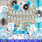 385 Piece Blue Elephant Baby Shower Decorations for Boy Kit - It's a BOY Pre-Strung Banners, Garland Guestbook Mommy to Be Sash Balloons Cake Toppers Fans Lantern Napkins Straws Games & Favor Stickers