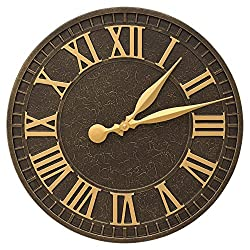 Whitehall 16 in. Indoor Outdoor Wall Clock in Aged Bronze