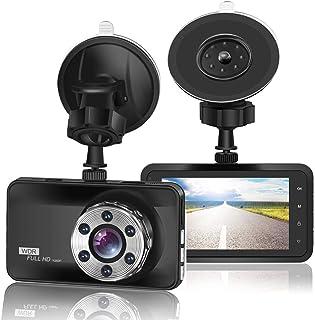 ORSKEY Cámara para salpicadero de Coche 1080P Full HD DVR cámara de vídeo grabadora 170 Gran Angular WDR, con Pantalla LCD...