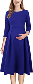 Womens Mama Maternity Nursing Pockets Pleated Skater A-Line Dress