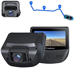 Dash Cam, Front and Rear 1080P Dash Camera for Cars, Optional GPS, 170° Wide Angle, Support 128GB Recorder with 3 Inc...