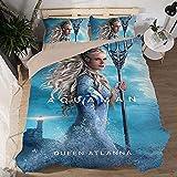 Aquaman - Juego de funda de edredón y funda de almohada (Aquaman, material de microfibra suave), 1 funda de edredón y 2 fundas de almohada (Aquaman-4, 220 x 240 cm + 50 x 75 cm x 2)