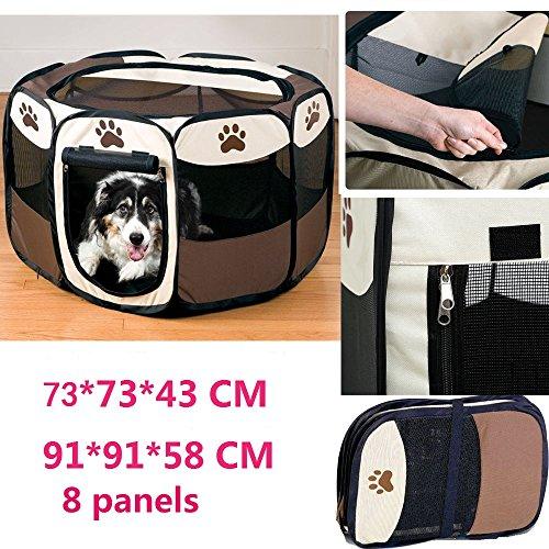 Welpenlaufstall/ Tierlaufstall/ Hundehütte/ Welpenauslauf/ Laufstall für Hunde/ Katzenhaus/ Wasserdichtes Zelt für Kleintiere wie Hunde, Katzen Größe M/L (91*91*58CM, Kaffee)