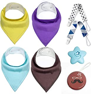 Baby Bandana Drool Bibs Set – 4 Packs Infant Bibs, 2 Packs Pacifier Clips, Pacifier Holder Case, Teether