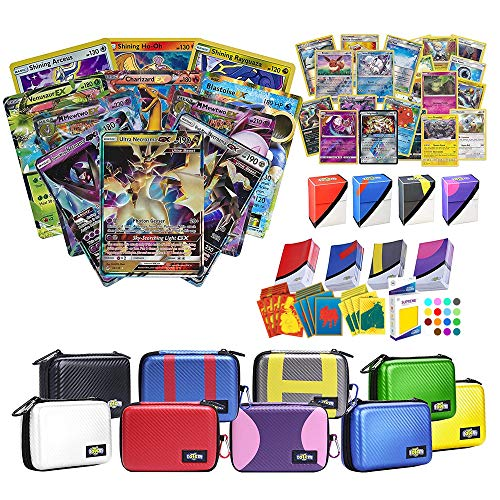 Totem World Pokemon Premium Collection Ultra Rare with 100 Pokemon Cards - Card Case - Card Protector Sleeves - Deck Box