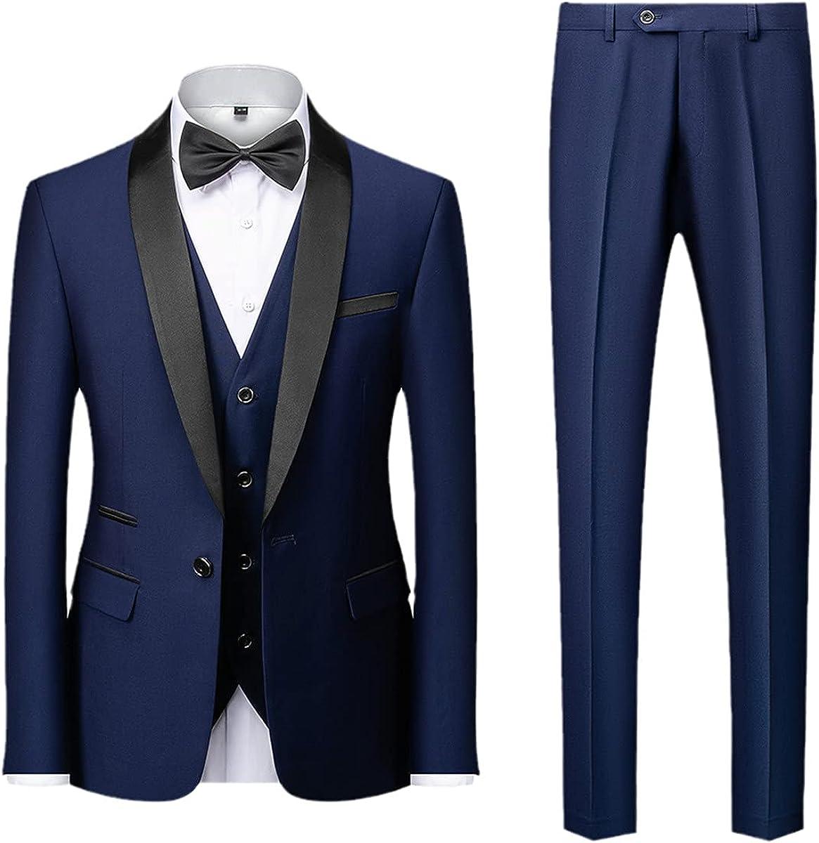 Men's Color Block Collar Suit Jacket Trousers Vest Business Casual Wedding Suit Jacket Vest Pants 3-Piece Set