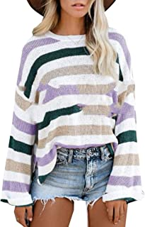 Womens Long Sleeve Casual Crew Neck Color Block Sweater Knit Pullover Jumper Tops