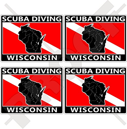 WISCONSIN SCUBA Duiken Vlag-Map Vorm VS, Amerika 50mm (2