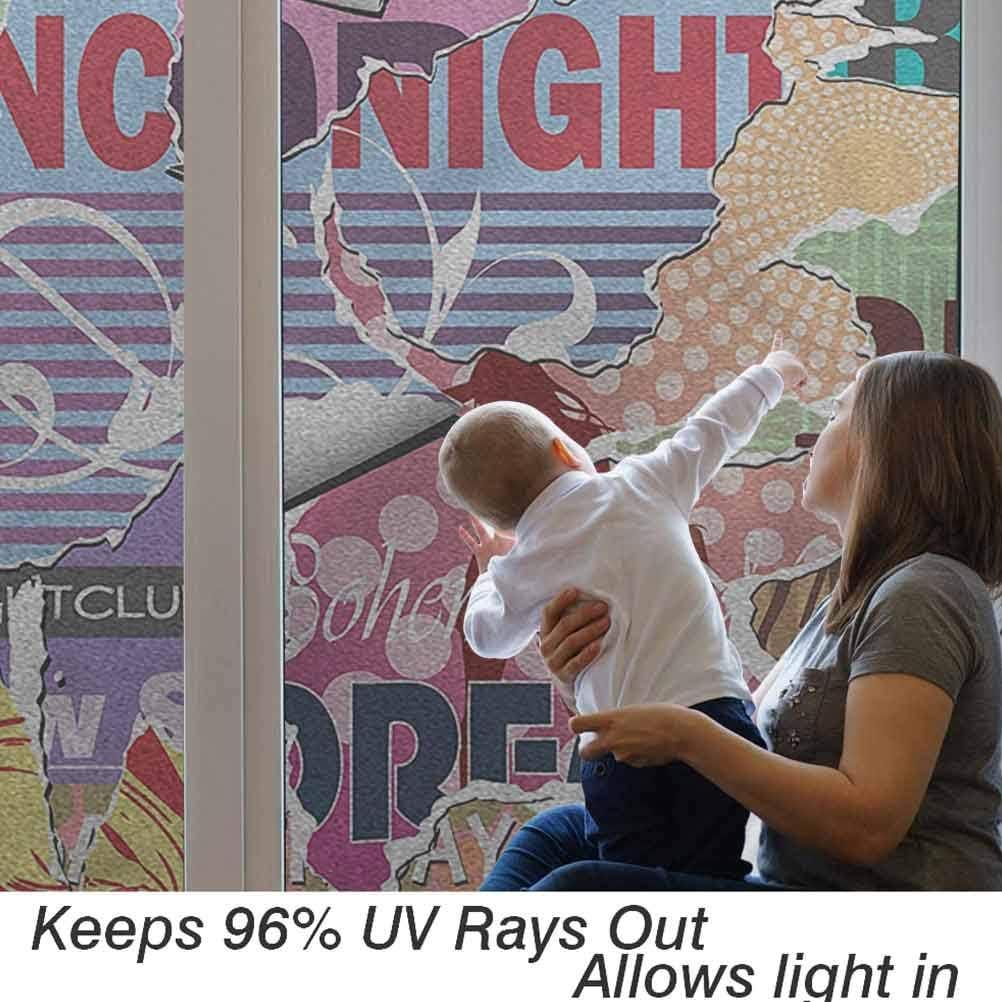 Gris naturel Pour fen/être 45 x 89 cm Pour la maison et le bureau D/écoration statique Film en vinyle 3D pour /écran solaire Brindilles feuilles sur blanc