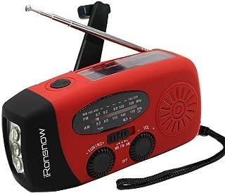 (نسخه 2018) iRonsnow اضطراری خورشیدی NOAA آب و هوا رادیو دینامو دست کمان خود را فعال AM FM WB رادیو 3 چراغ قوه چراغ قوه 1000mAh تلفن هوشمند تلفن شارژر قدرت بانک (قرمز)