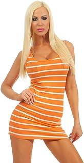 3409Fashion 4YOUNG Womens T-Shirt Mini Dress Women Top Longtop dress striped Basic Striped