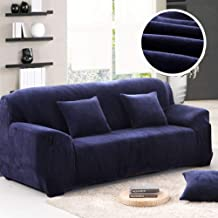 Coromose Sofa Cover Non-Slip Thicken Plush Elastic All-Inclusive Sofa Protector for Autumn Winter Navy Three People Seats 195-230cm