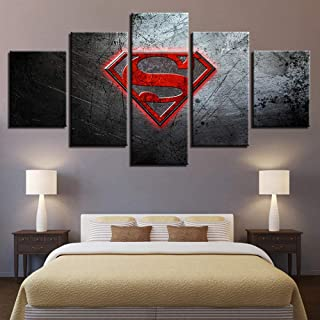 ZDLYY 5 Piece Canvas Painting home decor Home Decor Poster Modern Canvas Frame 5 Panel Superman Living Room Wall Art Pictu...