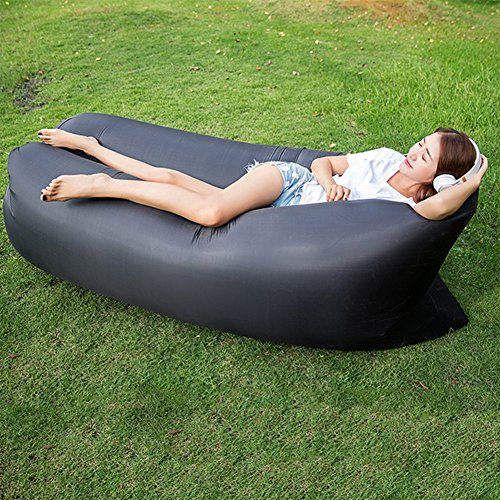 OOFAY Impermeable Y Durable Plegable Sofá De Aire Interior Y Al Aire Libre Hangout Silla De Aire Sofá Hamaca Perezoso,Black