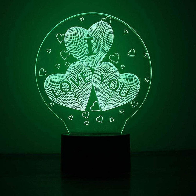 JJSFJH 3D Nachtlichter Ich Liebe Dich Gestndnis Kreative Bunte Led-Lichter optische Tuschung 7 Farben ndern Sich mit Remote Geburtstag Geschenke Erstaunliches Licht