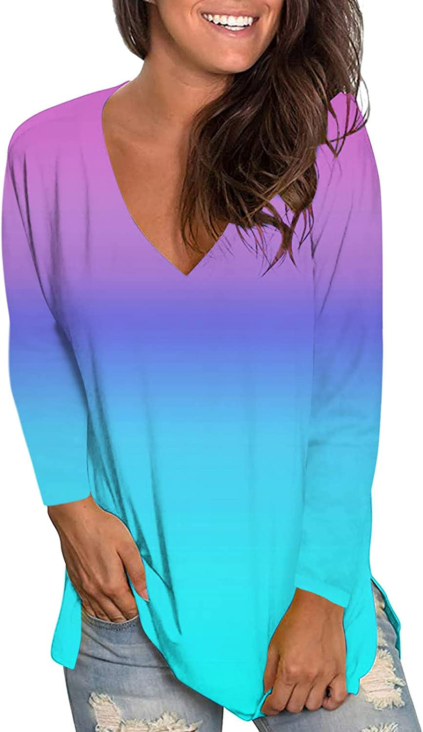 ONHUON Womens Tops,Womens Long Sleeve Shirts Cute Printed Tshirts Blouse Casual Colorful Gradient Loose Fit Tees