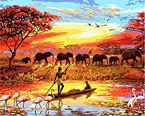 ZHIYYQ Paint by Numbers, DIY Digital Oil Painting kit, Color Canvas Painting Adults Children Home Decoration, Gifts-Indian Sunset Elephant group-40X50cm