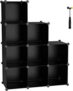 SONGMICS Cube Storage Organizer, 9-Cube BookShelf, DIY Plastic Closet Cabinet, Modular Bookcase, Storage Shelving for Bedroom, Living Room, Office, 36.6
