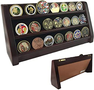 Indeep 3 Row Challenge Coin Display Stand Rack Military Coin Holder Display Mahogany Finish