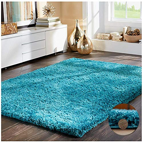 FBFunkyBuys SOFT LUXURIOUS TEAL BLUE 5CM THICK DENSE PILE TURQUOISE SHAGGY RUGS BEDROOM AND LIVING ROOM NON SHED ANTI SKID CARPETS - 5 120cm x 170cm (4ft x 5ft 6'), SGY-CAL-TL-120170/B078JHQ2VL